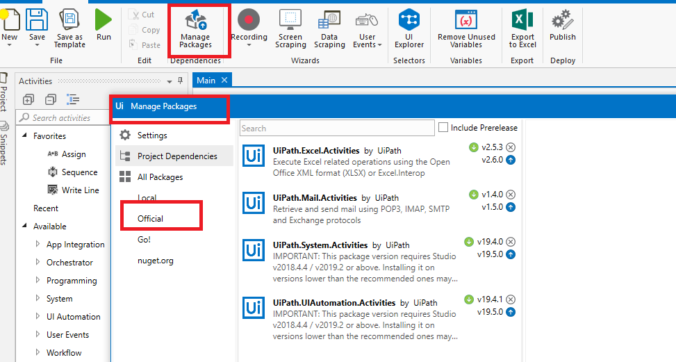 Install UiPath Packages – Test Automation Solutions